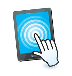 hand cursor and tablet pc with touchscreen - vector image
