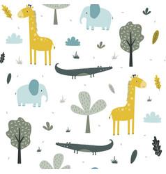 hand drawing safari animals seamless print design vector image