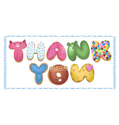 hand drawn type that says thank you in the shape vector image