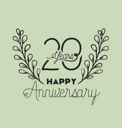 happy anniversary number twenty with wreath crown vector image