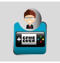 Happy businessman game boy network media icon vector