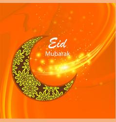 happy eid mubarak islamic design on orange sky vector image