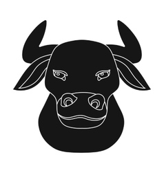 Head of bull icon in black style isolated on white vector image
