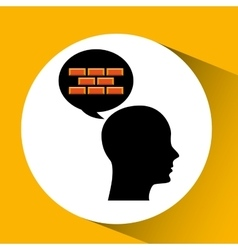 head silhouette black icon bricks construction vector image