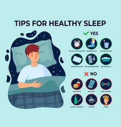 Healthy sleep tips infographics causes vector