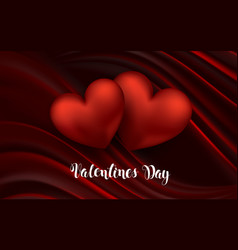 heart on red silk with light valentine s day vector image