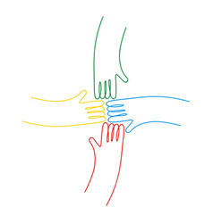 human hands together for community help isolated vector image