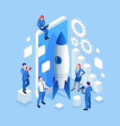 isometric businnes startup for web page banner vector image