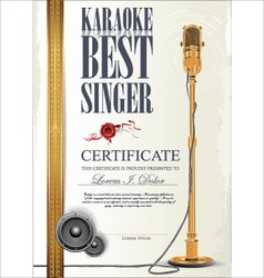 Karaoke certificate template vector