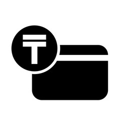 kazakhstani tenge credit card icon vector image