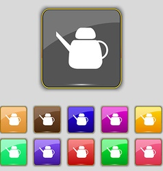 Kettle Icon sign Set with eleven colored buttons vector