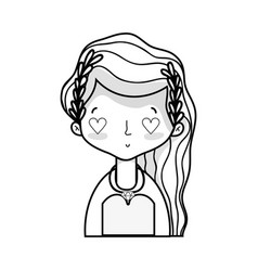 Line beauty bride with married dress and hairstyle vector