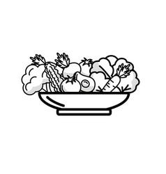 Line delicious organ food inside of plate vector