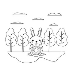 Line male rabbit with sweet donut in the landscape vector