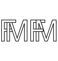 Logo sign fm mf icon sign interlaced letters m f vector