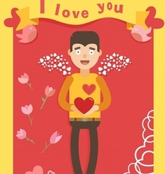 love red postcard vector image