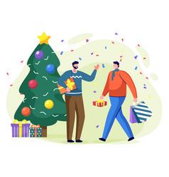 man with present box near christmas tree vector image