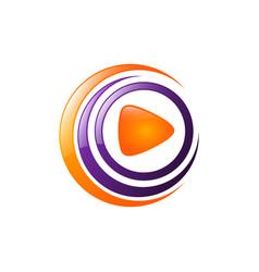 multimedia logo design play logotype labyrinth vector image