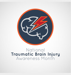 national traumatic brain injury awareness month vector image