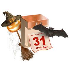 October 31 holiday of halloween tear-off calendar vector