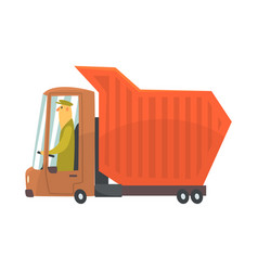 orange heavy duty dump truck freight transport vector image
