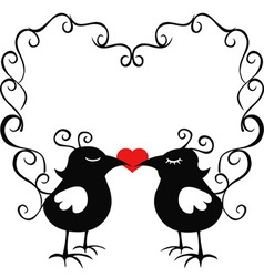 ornamental loving birds vector image vector image