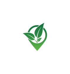 Pin map natural logo icon design template vector