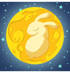 Rabbit in the moon vector image vector image