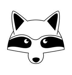 raccoon head wild animal on black and white vector image