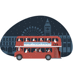 red double decker bus full santas vector image