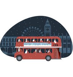 Red double decker bus full santas vector