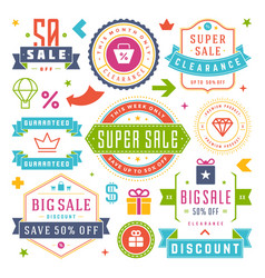 sale labels and tags design vintage set vector image