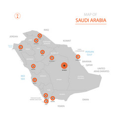 saudi arabia map with administrative divisions vector image