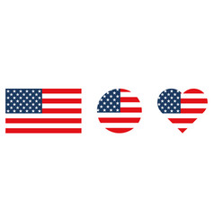 set american flag in shape square heart vector image