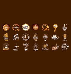 set coffee logos on brown vector image