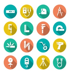 Set flat icons of measuring tools vector