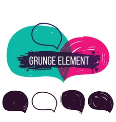 Set hand drawn grunge bubble speech vector image