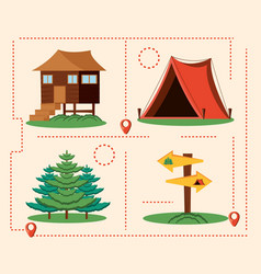set icons of camping zone vector image