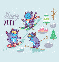 Set of cute yeti skiing in the mountain vector