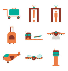 set of icons in flat design for airport on a vector image