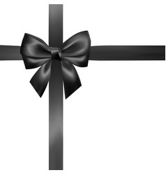 set of realistic black bow with black ribbon vector image