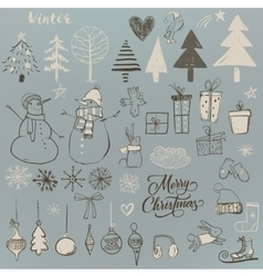 set with cute winter elements vector image