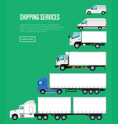 Shipping services poster with commercial transport vector