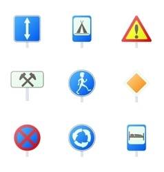 Sign warning icons set cartoon style vector