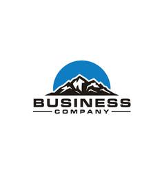 silhouette mountain sun top mount snow peak logo vector image