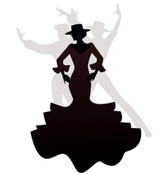 Silhouettes woman and two men spanish flamenco vector