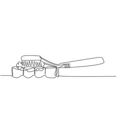 Single one line drawing toothbrush being used to vector