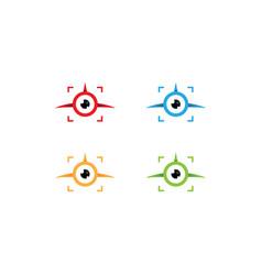 Sky drone logo design template vector