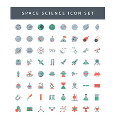 space and science icon set with colorful modern vector image