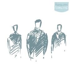 Standing businessman concept sketch vector